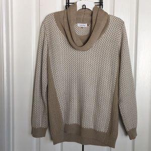 CALVIN KLEIN tan cowl neck sweater